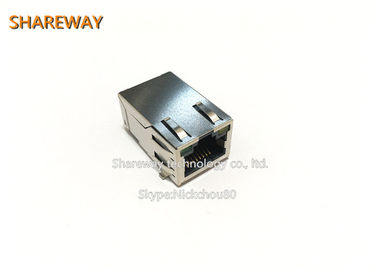 Chiny J0G-0059NL Single row 6pins PoE RJ45 Connector With LED With Finger fabryka
